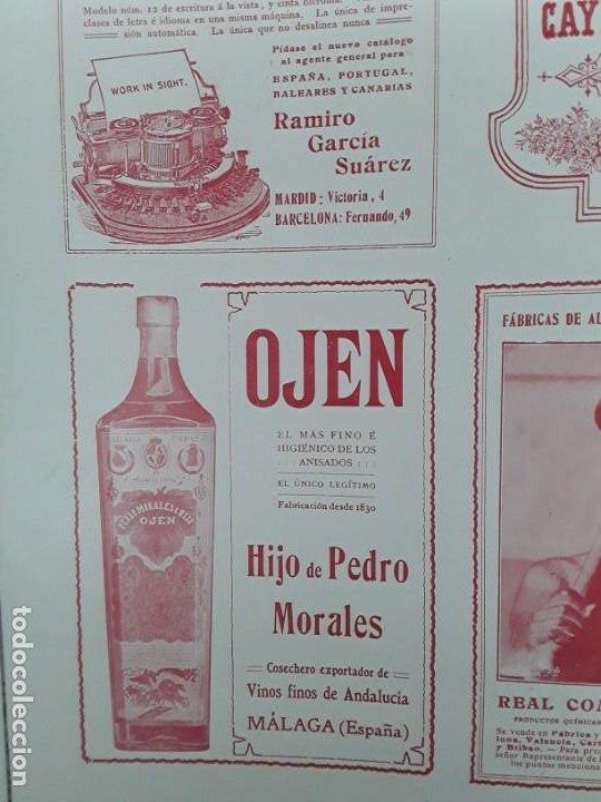 OJEN EL MAS FINO E HIGIENICO DE LOS ANISADOS ANIS HIJO PEDRO MORALES MALAGA VINO HOJA AÑO 1909 (Coleccionismo - Carteles Pequeño Formato)