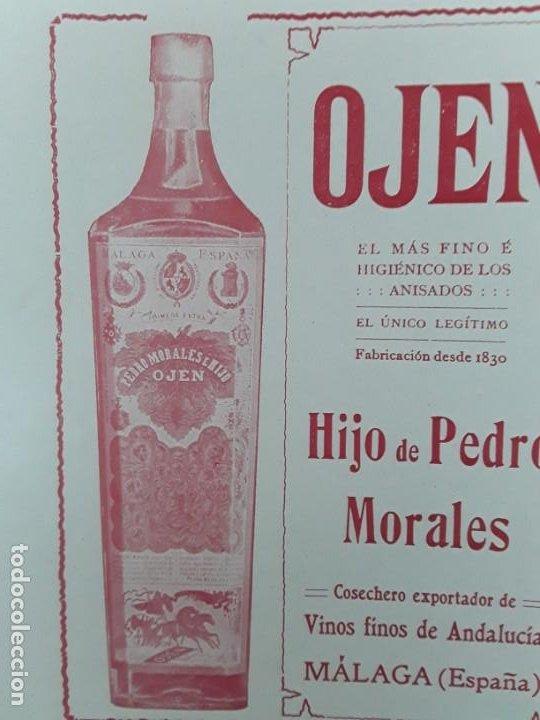 Coleccionismo de carteles: OJEN EL MAS FINO E HIGIENICO DE LOS ANISADOS ANIS HIJO PEDRO MORALES MALAGA VINO HOJA AÑO 1909 - Foto 2 - 217958135