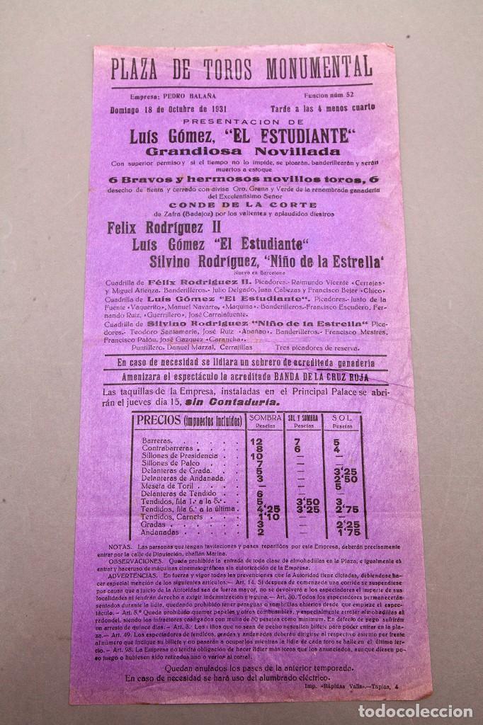 TOROS - PLAZA DE TOROS MONUMENTAL DE BARCELONA - 1931 (Coleccionismo - Carteles Pequeño Formato)