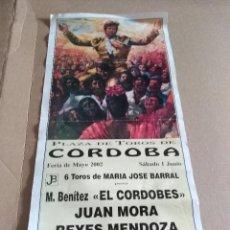 Colecionismo de cartazes: CARTEL PLAZA DE TORO TORERO CORDOBA M BENITEZ CORDOBES MENDOZA ALTERNATIVA 2002. Lote 218405966