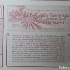Collectionnisme d'affiches: LA INDUSTRIA CERVECERA EUGENIO JOSENHANS FABRICA DE CERVEZAS GASEOSAS HIELO BARCELONA HOJA AÑO 1906. Lote 219336603