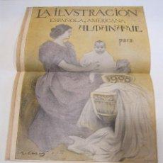 Coleccionismo de carteles: RAMON CASAS. PORTADA DE LA ILUSTRACION ESPAÑOLA Y AMERICANA ALMANAQUE PARA 1900. 32 X 24 CM. Lote 219346511