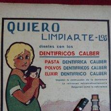 Collectionnisme d'affiches: ANUNCIO QUIERO LIMPIARTE LOS DIENTES CON DENTIFRICOS CALBER - DIBUJO NIÑA CON MUÑECA POR BALDRICH. Lote 220310026