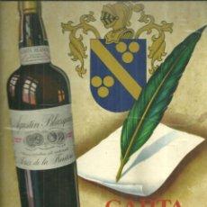 Coleccionismo de carteles: 3905.- CARTA BLANCA AMONTILLADO FINO-AGUSTIN BLAZQUEZ-JEREZ FRONTERA - CARTON PUBLICITARIO -DISPLAY. Lote 221090473