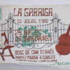 Coleccionismo de carteles: 24 APLEC DE LA SARDANA 25 JULIOL 1980 - 44 POR 32 CENTIMETROS. Lote 221803028
