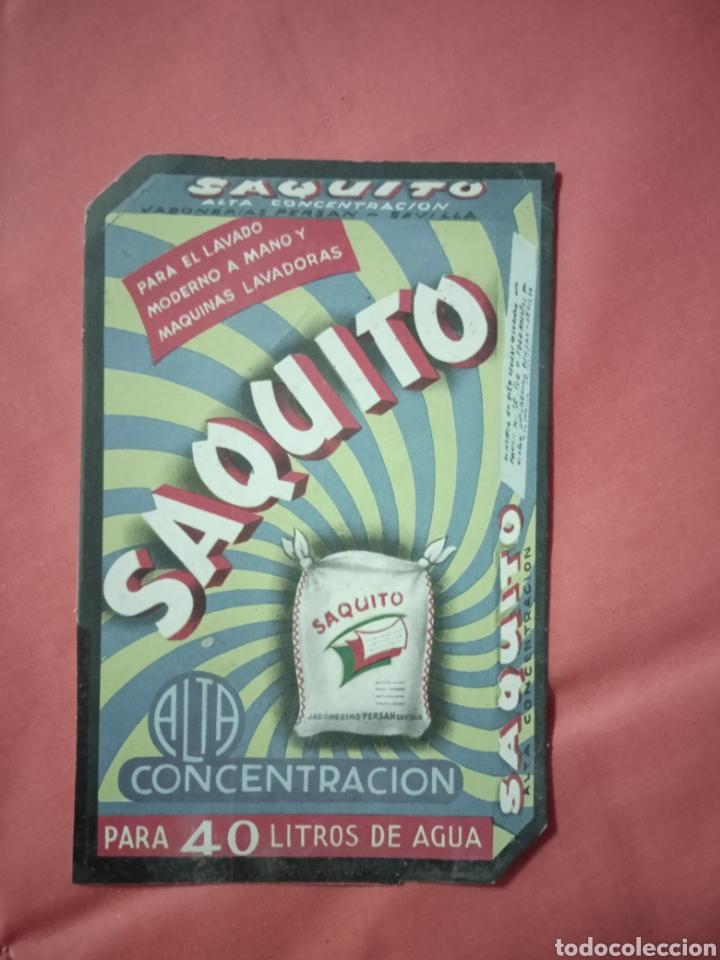 ANTIGUA PUBLICIDAD JABÓN SAQUITO (Coleccionismo - Carteles Pequeño Formato)