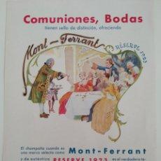 Coleccionismo de carteles: PUBLICIDAD PERTENECIENTE A REVISTA AÑO 1933-1934 24CMX17CM. MONT-FERRANT. Lote 221877815