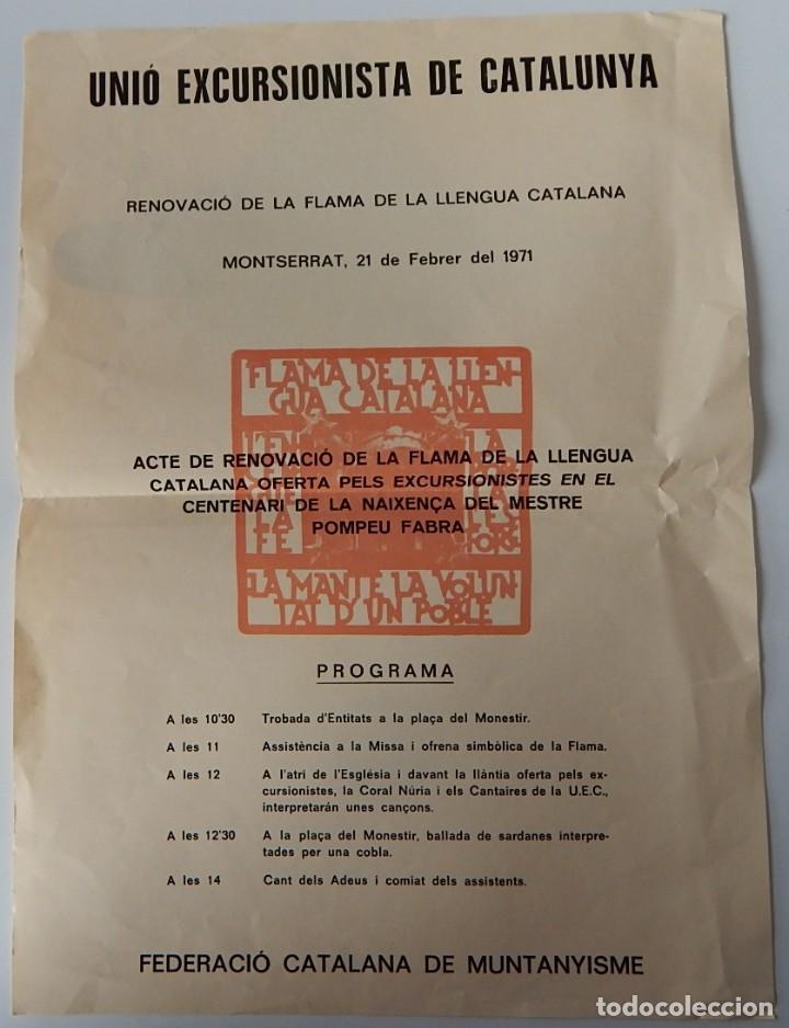 Coleccionismo de carteles: Unió Excursionista de Catalunya - Renovació de la Flama de la Llengua Catalana Montserrat 1971 - Foto 2 - 222272961
