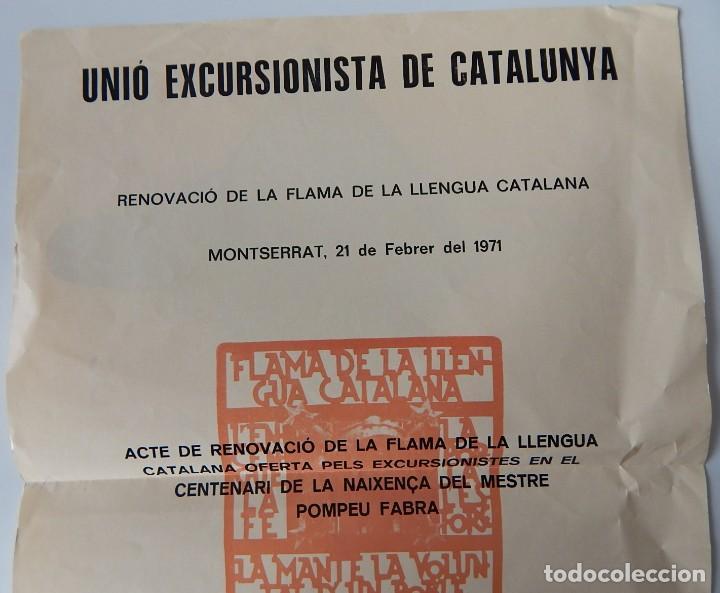 Coleccionismo de carteles: Unió Excursionista de Catalunya - Renovació de la Flama de la Llengua Catalana Montserrat 1971 - Foto 3 - 222272961