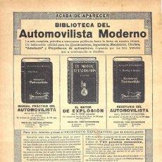 Coleccionismo de carteles: 1923 HOJA REVISTA PUBLICIDAD ANUNCIO DE PRENSA BIBLIOTECA DEL AUTOMOVILISTA MODERNO MANUAL, RECETARI. Lote 222314337