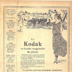 Coleccionismo de carteles: 1923 HOJA REVISTA PUBLICIDAD ANUNCIO DE PRENSA CÁMARAS DE FOTOS FOTOGRÁFICAS KODAK. Lote 222314908