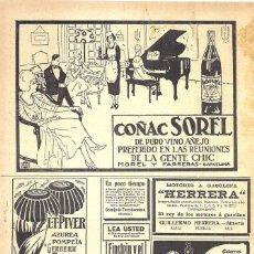 Coleccionismo de carteles: 1923 HOJA REVISTA PUBLICIDAD ANUNCIO DE PRENSA COÑAC SOREL DE MOREL Y FARRERAS -BARCELONA. Lote 222315100