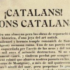 Coleccionismo de carteles: 1915 PETICIÓN LIMOSNAS RESTAURACIÓN DE SANT PERE DE MONTGRONY - POBLE DE GOMBRENY (GIRONA) 25 JULIOL. Lote 222315911