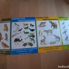 Coleccionismo de carteles: 4 CARTELES ESPECIES PROTEGIDAS INSTITUTO PARA LA CONSERVACIÓN DE LA NATURALEZA - 1974. Lote 222318543
