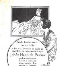 Coleccionismo de carteles: HOJA DE REVISTA PUBLICIDAD ANUNCIO DE PRENSA JABÓN HENO DE PRAVIA PERFUMERÍA CASA GAL. Lote 222331813