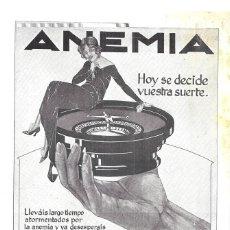 Coleccionismo de carteles: 1923 HOJA DE REVISTA PUBLICIDAD ANUNCIO PRENSA FARMACIA SANEMIL BUSTO RECONSTITUYENTE CONTRA ANEMIA. Lote 222332515