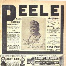 Coleccionismo de carteles: 1923 HOJA REVISTA PUBLICIDAD ANUNCIO PERFUMERÍA CASA PEELE ARTISTA PRECIOSILLA MANUELA TEJEDOR. Lote 222333341