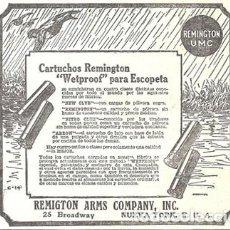 Coleccionismo de carteles: 1923 HOJA REVISTA PUBLICIDAD ANUNCIO DE PRENSA CARTUCHOS REMINGTON 'WETPROOF' PARA ESCOPETA. Lote 222334507