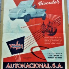 Coleccionismo de carteles: CARTEL PUBLICITARIO DEL VEHICULO BISCUTER.AUTONACIONAL,S.A.VOISINMEDIADOS S.XX. Lote 222464506