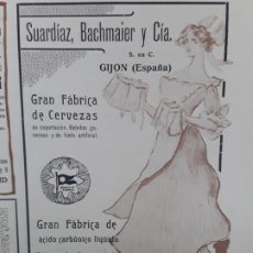 Collectionnisme d'affiches: GRAN FABRICA DE CERVEZAS SUARDIAZ,BACHMAIER Y Cª GIJON FABRICA ACIDO CARBONICO LIQUIDO HOJA AÑO 1906. Lote 223860273