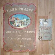 Coleccionismo de carteles: DOS CARTELES PUBLICITARIOS DE CARTON CASA PIFARRÉ. FABRICA DE CURTIDOS. LLEIDA, LERIDA.. Lote 224411870