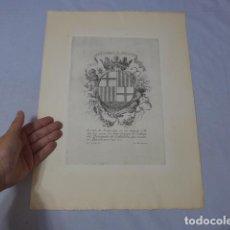 Coleccionismo de carteles: * ANTIGUO GRABADO ESCUDO DE ARMAS DE COMERCIO DEL PRINCIPADO DE CATALUÑA, ORIGINAL. ZX. Lote 224791636