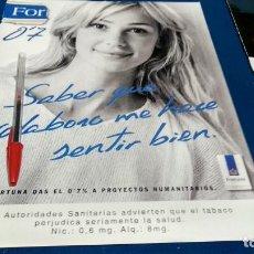 Coleccionismo de carteles: POSTER REVISTA HOJA PUBLICIDAD EN PRENSA FORTUNA LIGHTS. Lote 225898550