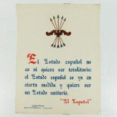 Coleccionismo de carteles: FRANQUISMO - LA FRASE QUINCENAL - AÑO 1944. TAMAÑO: 23,5X31,5 CM.. Lote 226396220