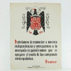 Coleccionismo de carteles: FRANQUISMO - LA FRASE QUINCENAL - AÑO 1946. TAMAÑO: 23,5X31,5 CM.. Lote 226396370