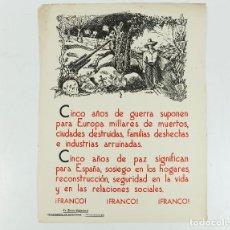 Coleccionismo de carteles: FRANQUISMO - LA FRASE QUINCENAL - AÑO 1944. TAMAÑO: 23,5X31,5 CM.. Lote 226396533