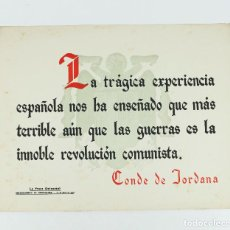 Coleccionismo de carteles: FRANQUISMO - LA FRASE QUINCENAL - AÑO 1943. TAMAÑO: 23,5X31,5 CM.. Lote 226396730