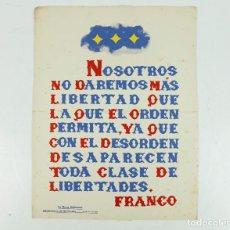 Coleccionismo de carteles: FRANQUISMO - LA FRASE QUINCENAL - AÑO 1945. TAMAÑO: 23,5X31,5 CM.. Lote 226397623