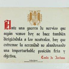 Coleccionismo de carteles: FRANQUISMO - LA FRASE QUINCENAL - AÑO 1944. TAMAÑO: 23,5X31,5 CM.. Lote 226397825