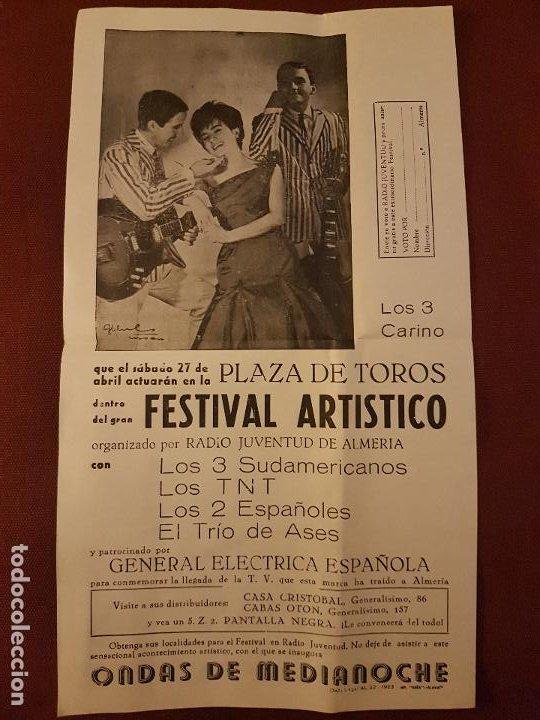 ALMERIA PLAZA DE TOROS 1963 CARTEL FESTIVAL ARTISTICO LOS 3 SUDAMERICANOS LOS TNT LOS 2 ESPAÑOLES (Coleccionismo - Carteles Pequeño Formato)
