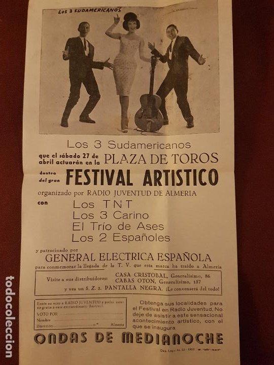 ALMERIA PLAZA DE TOROS 1963 CARTEL FESTIVAL ARTISTICO LOS TNT LOS 2 ESPAÑOLES LOS 3 CARINO (Coleccionismo - Carteles Pequeño Formato)