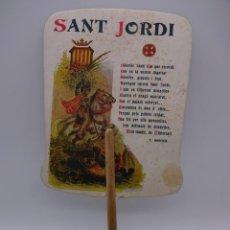Collectionnisme d'affiches: ANTIGUO ABANICO PAY PAY. MOTIVO SANT JORDI. PUBLICIDAD SANTS (BARCELONA). Lote 227048620