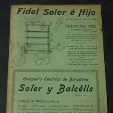 Coleccionismo de carteles: FIDEL SOLER É HIJO / COMPAÑIA ELÉCTRICA DE BARCELONA SOLER Y BALCÉLLS. Lote 228625875