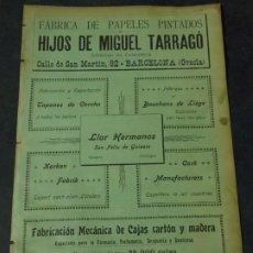 Coleccionismo de carteles: FÁBRICA DE PAPELES PINTADOS HIJOS DE MIGUEL TARRAGÓ. Lote 228628470