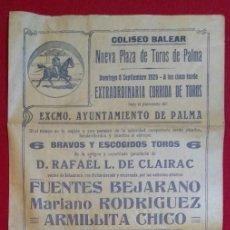Colecionismo de cartazes: CARTEL TOROS , PALMA, MALLORCA - 8-9-1929 - AÑO INAUGURACIÓN DEL COLISEO BALEAR .. Lote 230458705