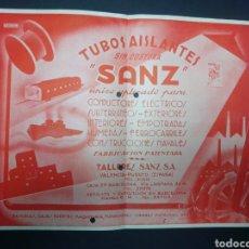 Coleccionismo de carteles: PUBLICIDAD. CARTEL DE LOS AÑOS 40. TUBOS AISLANTES SANZ. VALENCIA. TAMAÑO 29,5 X 24 CM. BELLO.. Lote 230896890