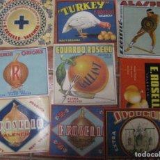 Coleccionismo de carteles: LOTE 9 ETIQUETAS PEQUEÑO CARTEL PUBLICIDAD NARANJAS ROSELLO Y CEBOLLAS VALENCIA. Lote 233656155