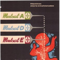 Coleccionismo de carteles: PUBLICIDAD FARMACEUTICA - MULSAL - LABORATORIOS HISPANO-SUIZOS - SAN SEBASTIAN - 1961 - FARMACIA. Lote 234537095
