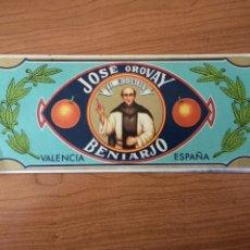 Colecionismo de cartazes: CARTEL PUBLICITARIO. JOSÉ OROVAY BENIARJÓ. EL MISIONERO. NARANJAS. 27 X10 CM. Lote 234812520