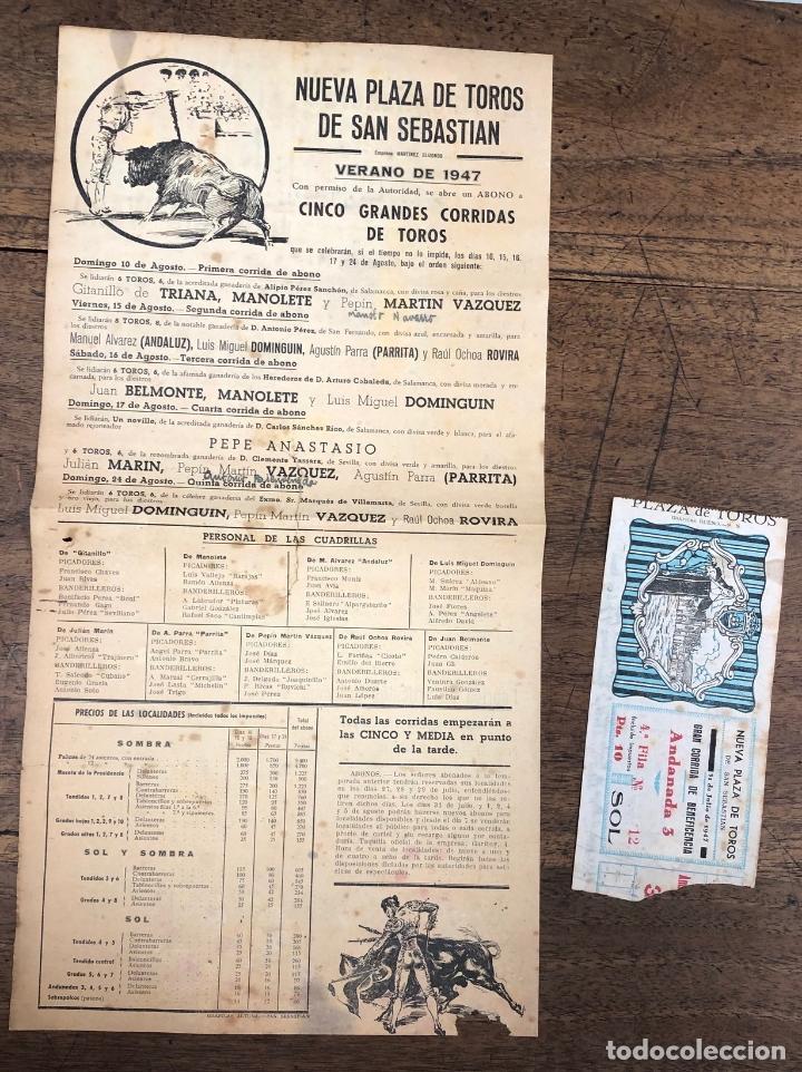 CARTEL NUEVA PLAZA DE TOROS DE SAN SEBASTIAN. VERANO 1947. SE ACOMPAÑA DE ENTRADA (Coleccionismo - Carteles Pequeño Formato)