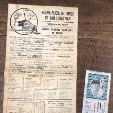 Colecionismo de cartazes: CARTEL NUEVA PLAZA DE TOROS DE SAN SEBASTIAN. VERANO 1947. SE ACOMPAÑA DE ENTRADA. Lote 234864110