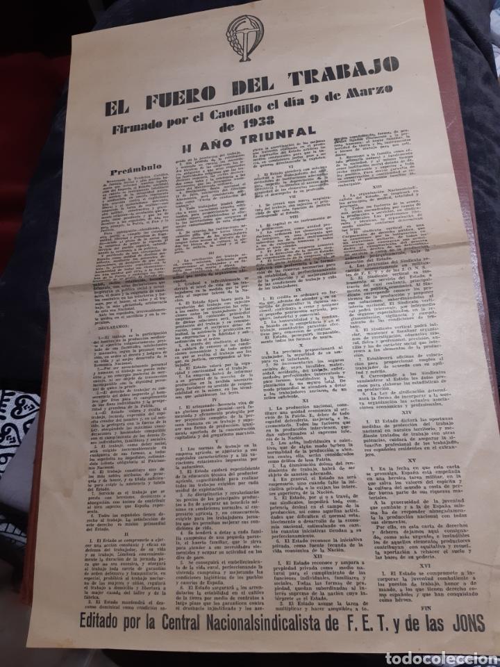 CARTEL FRANQUISTA, EL FUERO DEL TRABAJO AÑO 1938 (Coleccionismo - Carteles Pequeño Formato)