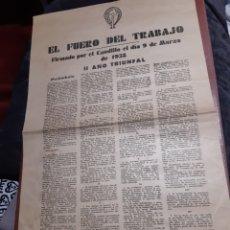 Coleccionismo de carteles: CARTEL FRANQUISTA, EL FUERO DEL TRABAJO AÑO 1938. Lote 234958480