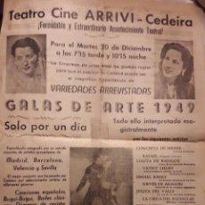 Colecionismo de cartazes: TEATRO CINE ARRIVI. CEDEIRA. GALAS DE ARTE, 1949. Lote 235184475