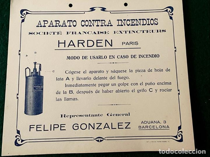 CARTEL PUBLICITARIO PEQUEÑO FORMATO - HARDEN (APARATO CONTRA INCENDIOS) (Coleccionismo - Carteles Pequeño Formato)