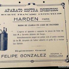Coleccionismo de carteles: CARTEL PUBLICITARIO PEQUEÑO FORMATO - HARDEN (APARATO CONTRA INCENDIOS). Lote 237003060